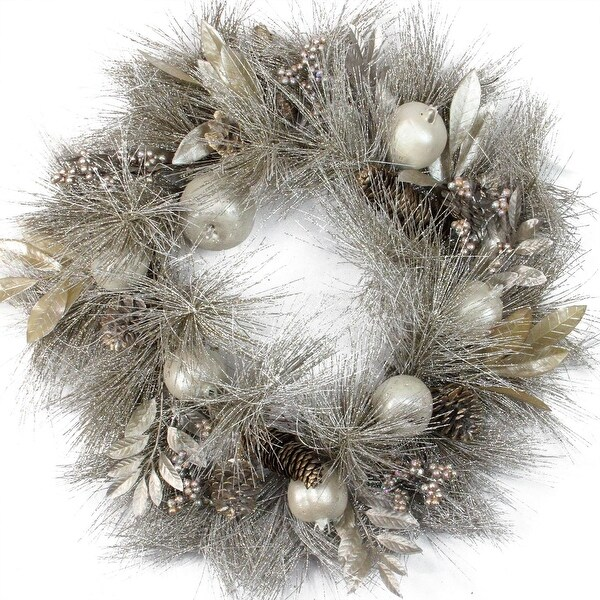 """24"""" Glitter Champagne Gold Pomegranate, Apple, Pine Cone and Berry Christmas Wreath - Unlit"""
