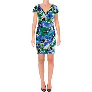 Lauren Ralph Lauren Womens Petites Casual Dress Ruched Printed