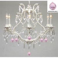 Authentic Empress Crystal(TM) And  Wrought Iron Chandelier Lighting with Pink Crystal Balls
