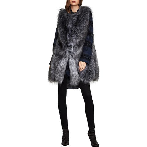 BCBG Max Azria Womens Makenzie Outerwear Vest Faux Fur Sleeveless