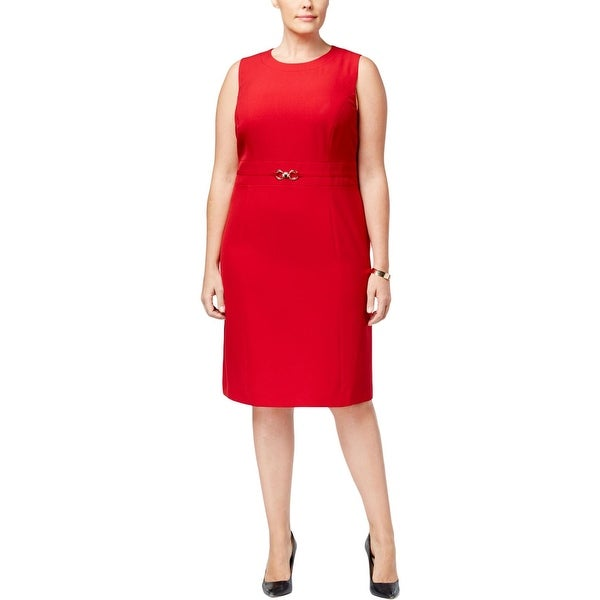 Kasper Womens Plus Wear to Work Dress Crepe Knee-Length