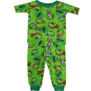 TNT Ninja Turtles Little Toddler Boys Green Short Sleeve 2 Piece Pajama Set 2-4T