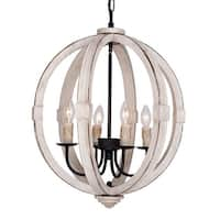 Bourges 4-Light Distressed Wooden Orb Chandelier