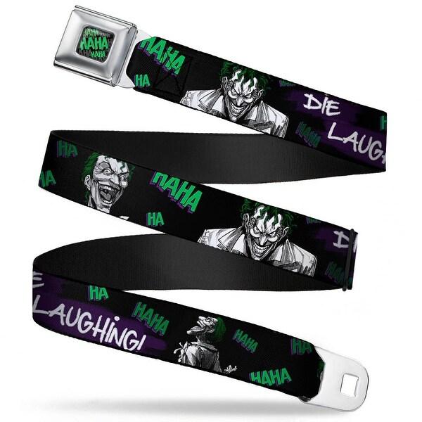 Haha Stacked Full Color Black Gray Green Joker Die Laughing! Haha Black Seatbelt Belt