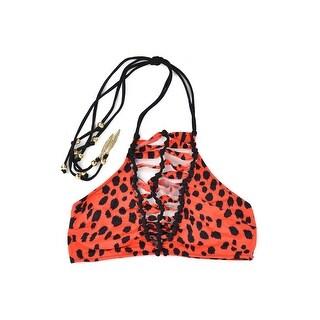 Roberto Cavalli Red Cheetah Ombre Cheetah Print Halter Two Piece - S