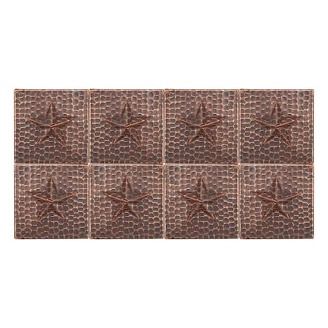 Premier Copper Products T4DBS_PKG8 4-inch x 4-inch Hammered Copper Star Tile - Quantity 8