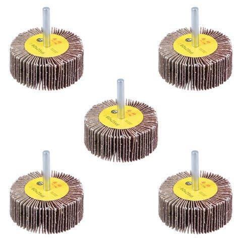 2-3/8 Inch Flap Wheels Shank Mounted Sanding Disc Abrasive Wheel 80 Grits 5 Pcs - 2.4 Inch