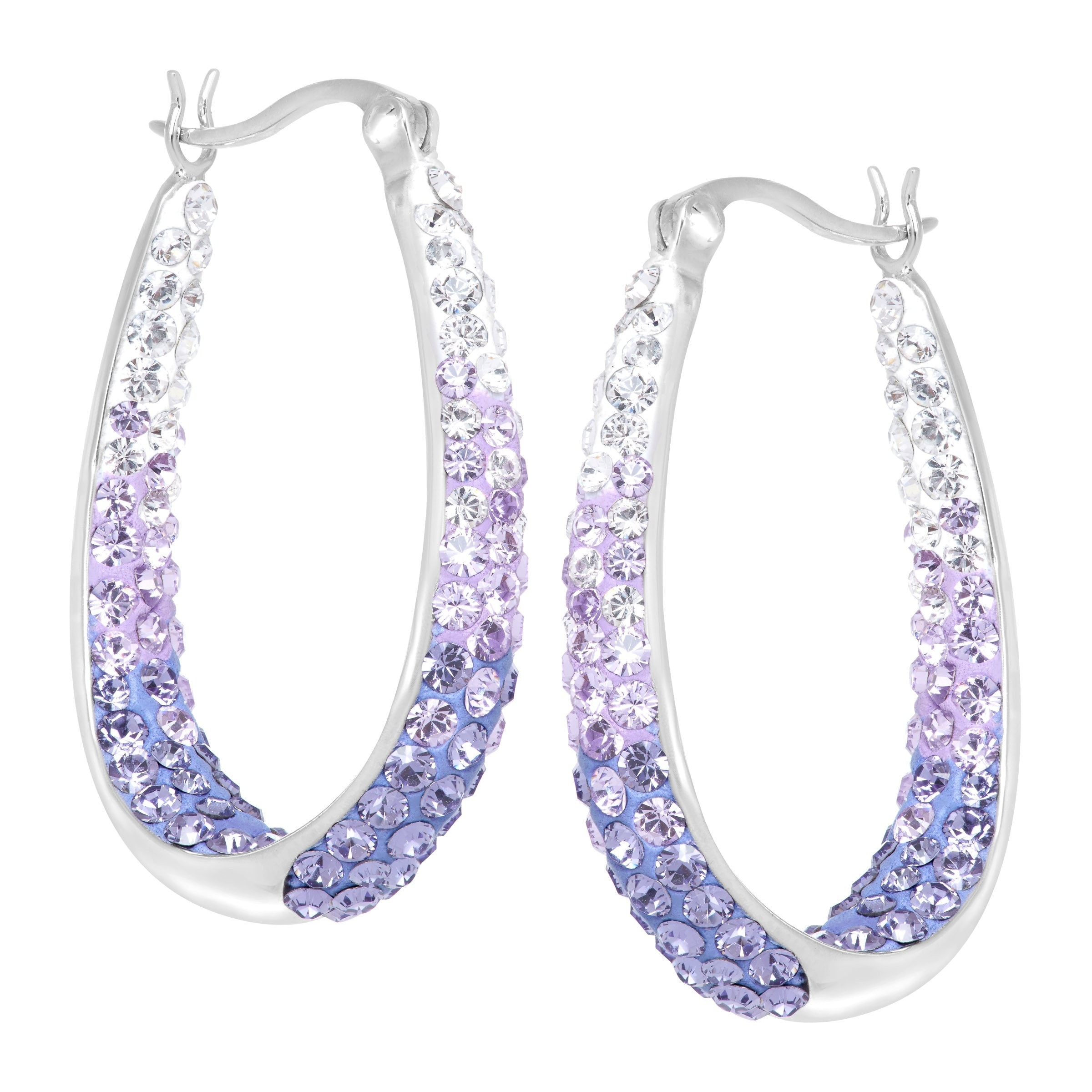 Crystaluxe Oval Hoop Earrings With