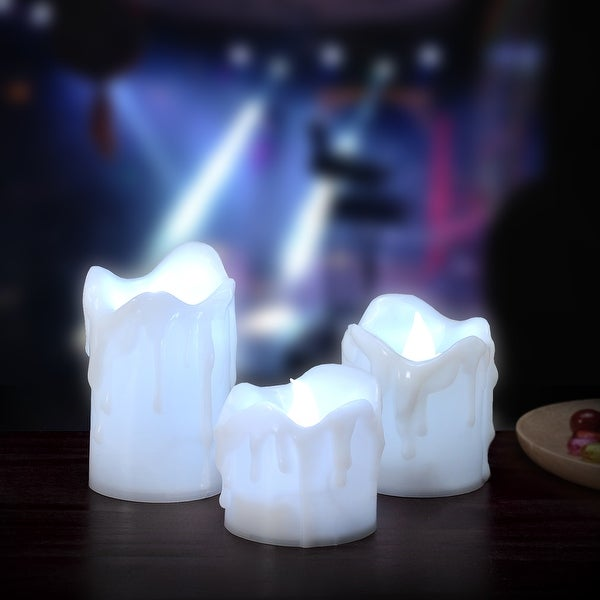 3PCS/set LED Flameless Flickering Candles Battery Operated Smokeless Wax Dripped for Wedding Cool White