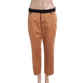 Zara Womens Pattern Flat Front Cropped Pants - M