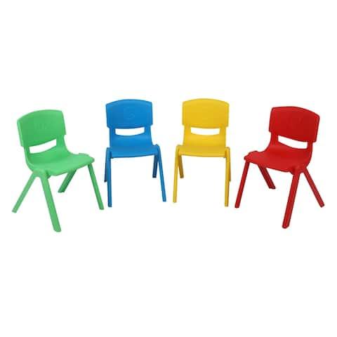 4-Piece Plastic Children's Folding Chair With Backrest