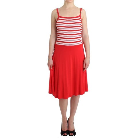 Roccobarocco Red striped jersey A-line Women's dress - it44-l