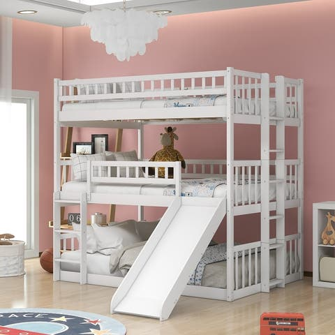 Full-Over-Full-Over-Full Triple Bed with Built-in Ladder and Slide for Kids, Triple Bunk Bed with Guardrails
