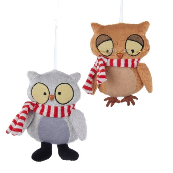 "5"" Ronnie Rooney Plush Wise Brown Owl Christmas Ornament with Striped Scarf"