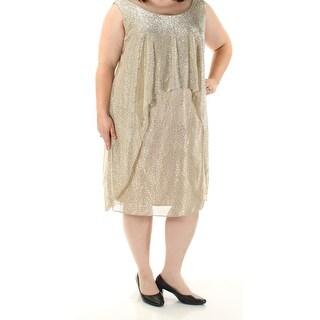 Womens Gold Cap Sleeve Below The Knee Sheath Party Dress Size: 22