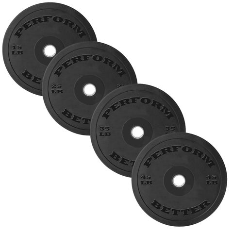 Perform Better Solid Black Rubber Bumper Plates - Sold in Pairs