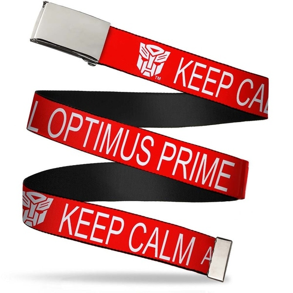 Blank Chrome Buckle Autobot Keep Calm Call Optimus Prime Red White Web Belt - S