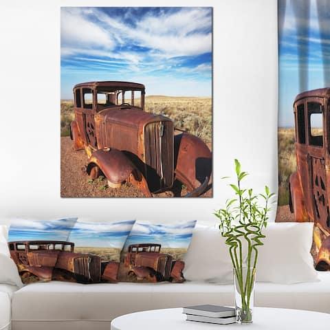 Designart 'Vintage Car under Bright Blue Sky' Abstract Canvas Artwork