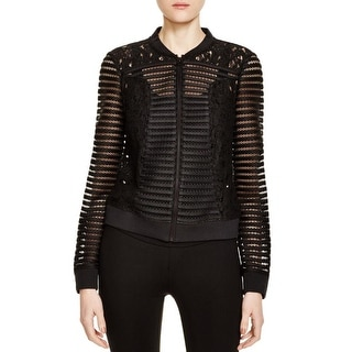 Finity Womens Bomber Jacket Lace Trim Long Sleeves