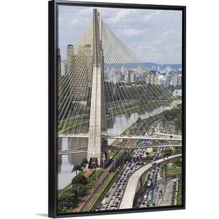 """""""Ponte Estaiada and Pinheiros River, Sao Paulo, Brazil"""" Black Float Frame Canvas Art"""