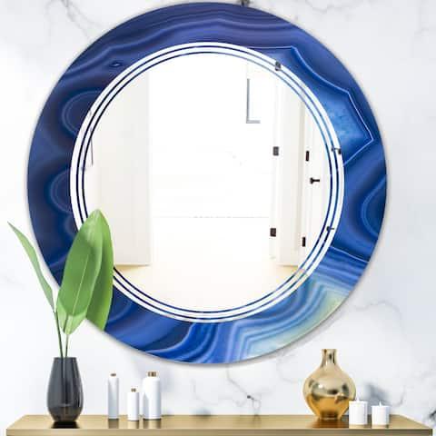 Designart 'Blue Agate Stone Design' Modern Round or Oval Wall Mirror - Triple C