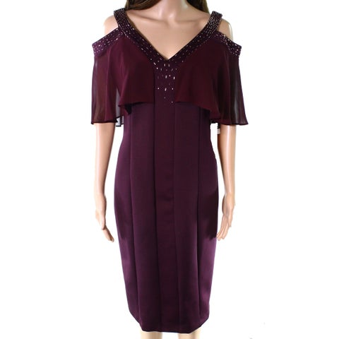 SLNY Purple Womens 12 Chiffon Embellished Cold Shoulder Sheath Dress