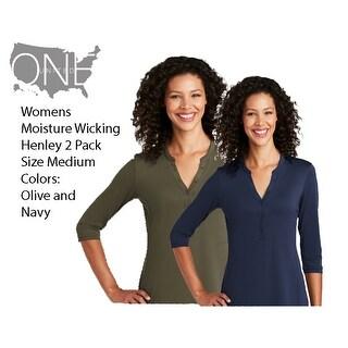 Womens 2 Pack (Size Medium) Moisture Wicking Henley, Navy/Olive - Medium