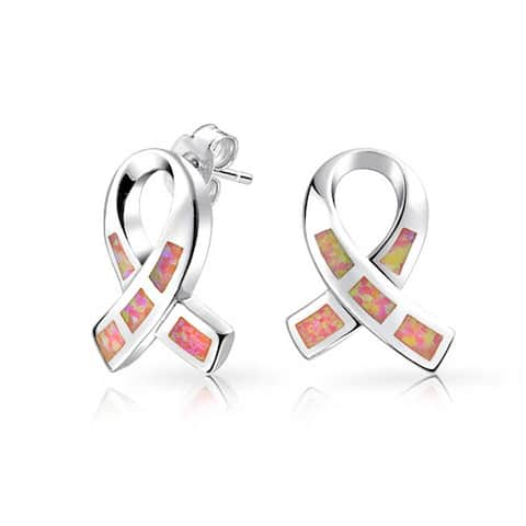 Created Pink Opal Ribbon For Breast Cancer Awareness Stud Earrings For Women 925 Sterling Silver 8MM October Birthstone