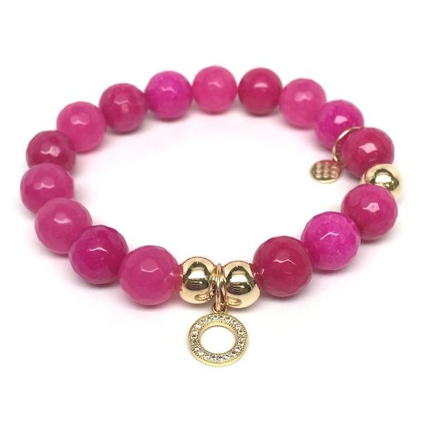 "Fuchsia Quartz Circle Charm 7"" Bracelet"