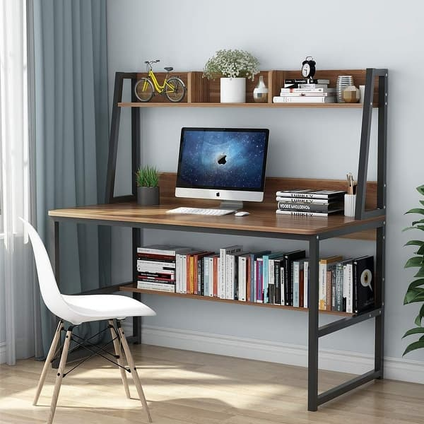 Shop Computer Desk with Hutch and Bookshelf, 47\