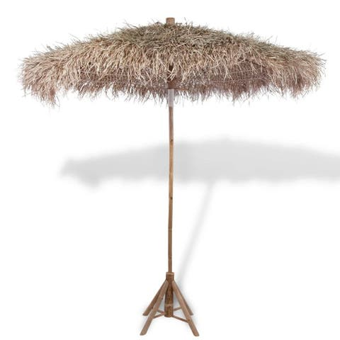 "vidaXL Bamboo Parasol 106.3"" with Banana Leaf Roof, Base Not Included"