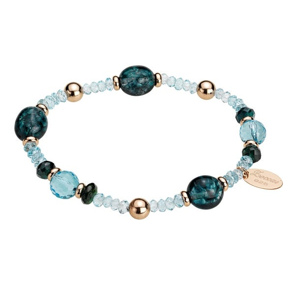 Zoccai 925 Blue Gemstone Bracelet in Rose Gold-toned Sterling Silver