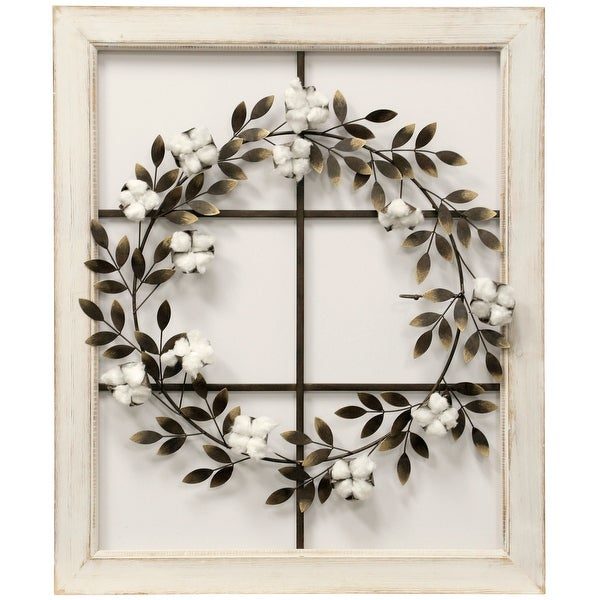 """StyleCraft SC-WI52457 26 1/8"""" x 31 1/2"""" - """"Floral Wreath"""" Iron and Wood Botanical Floral Wall Wreath - Brass"""