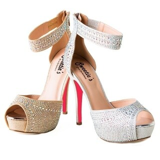 Sweetie's Shoes Silver Ankle Strap Sydney Elegant Dress Pumps