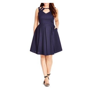 City Chic Womens Plus Casual Dress Textured Cut-Out
