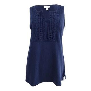 Charter Club Women's Crochet-Bib Top (M, Intrepid Blue) - intrepid blue - m