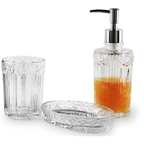 Circleware Daisy 3-Piece Glass Bathroom Accessory Set, Clear, 12 Ounces - N/A