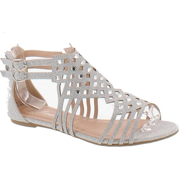 Forever Bella-53 Women's Double Buckles Gladiator Flat Sandals About One Size Large