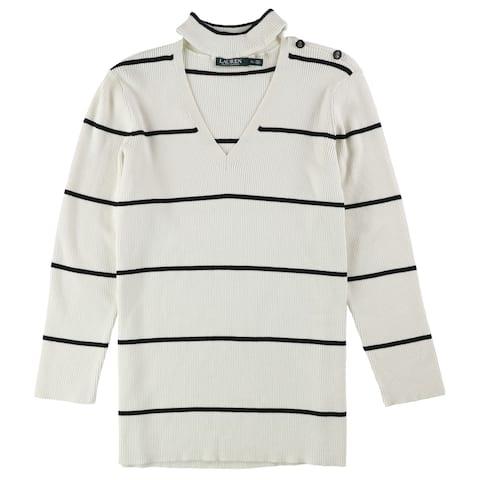 Ralph Lauren Womens Striped Choker Pullover Sweater, White, X-Large