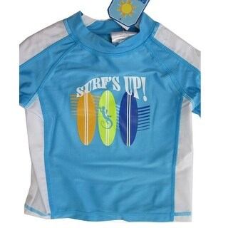 Sun Kids Tm. Little Boys Blue Surf's Up Print Swim Wear T-Shirt 2T-4T