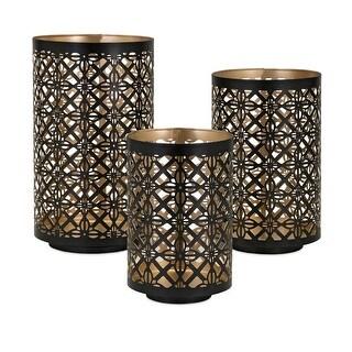 IMAX Home 14313-3  Helena 3 Piece Iron Pillar Lantern Candle Holder Set - Black