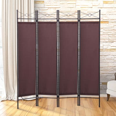 Room Divider Screen 4 Pane Folding Partition Privacy Room Decor Metal