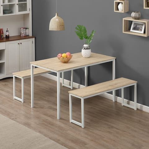 3 Piece Dining Set with Two Benches