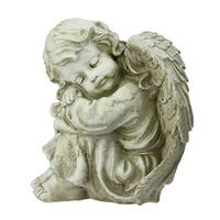 "9.5"" Ivory Distressed Finish Resting Cherub Angel Outdoor Patio Garden Statue"