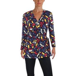 Anne Klein Womens Pullover Top Geometric 3/4 Sleeve - m