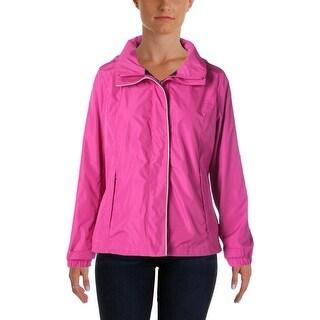 Nautica Womens Hooded Water Resistant Windbreaker Jacket - L