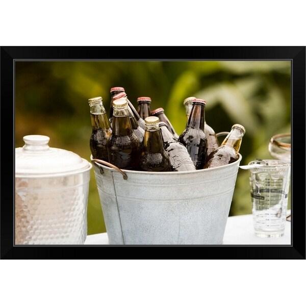 """Collection of bottles in bucket"" Black Framed Print"