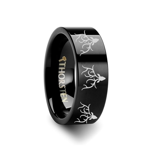 THORSTEN - Animal Reindeer Deer Stag Head Print Ring Engraved Flat Black Tungsten Ring - 10mm
