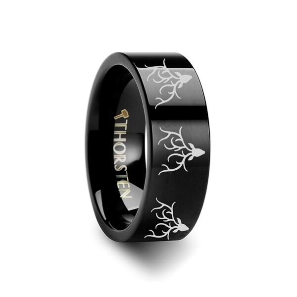 THORSTEN - Animal Reindeer Deer Stag Head Print Ring Engraved Flat Black Tungsten Ring - 12mm