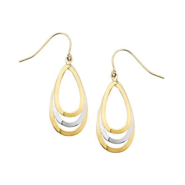 Eternity Gold Triple Teardrop Earrings in 14K Two-Tone Gold